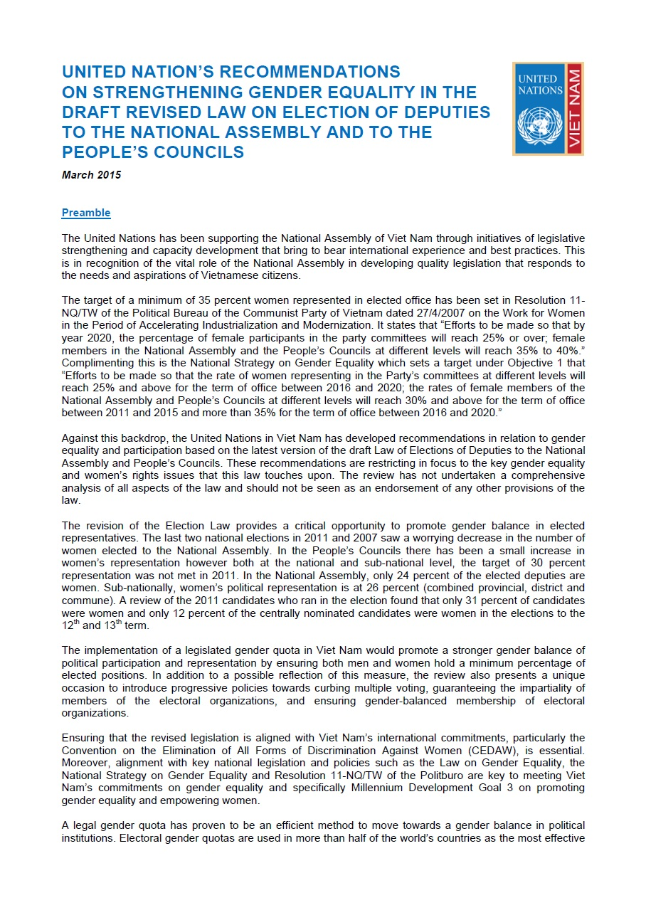 UN's Recommendations on Strengthening Gender Equality in the draft revised Law on Election