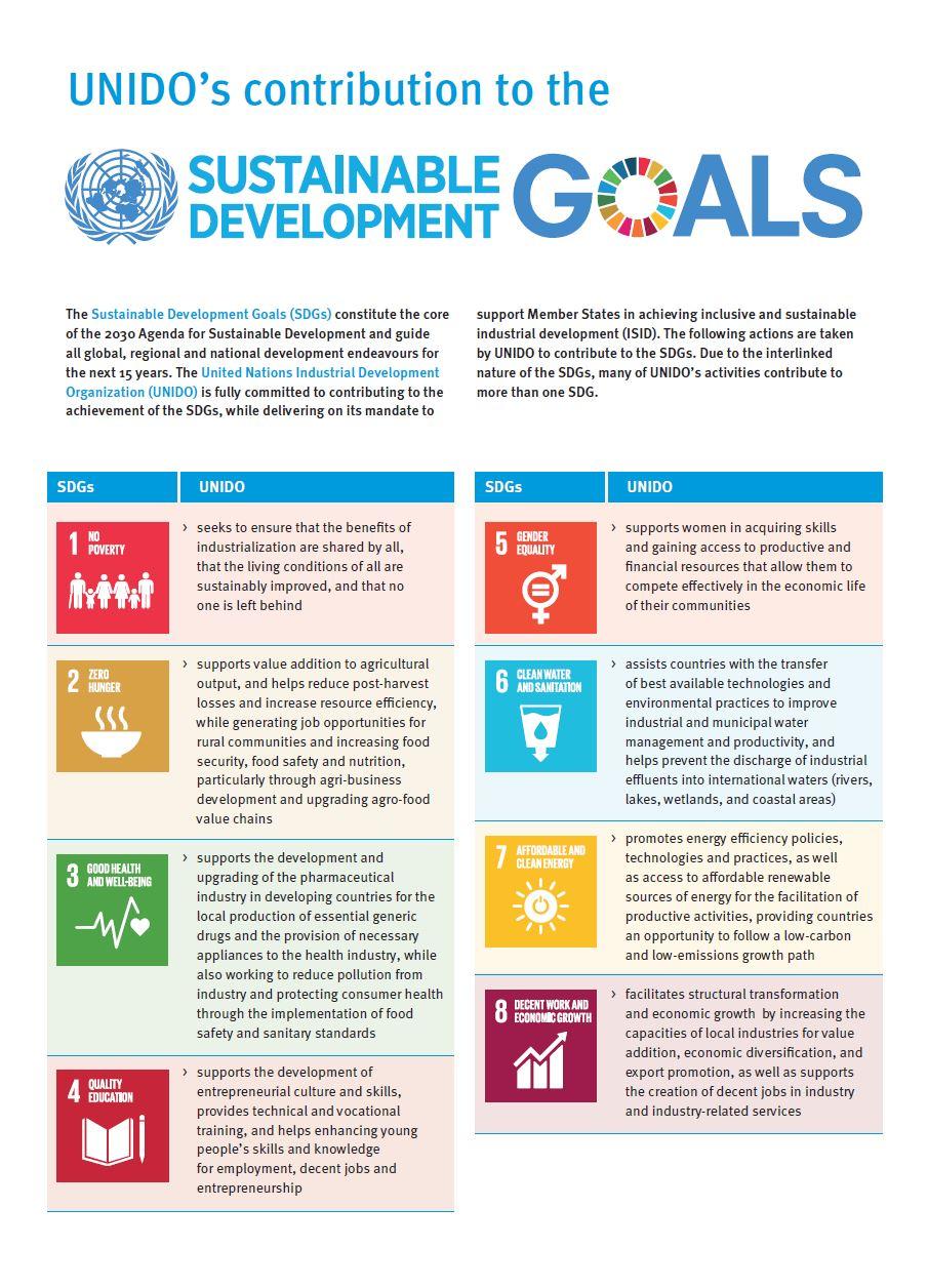 UNIDO's contribution to the SDGs