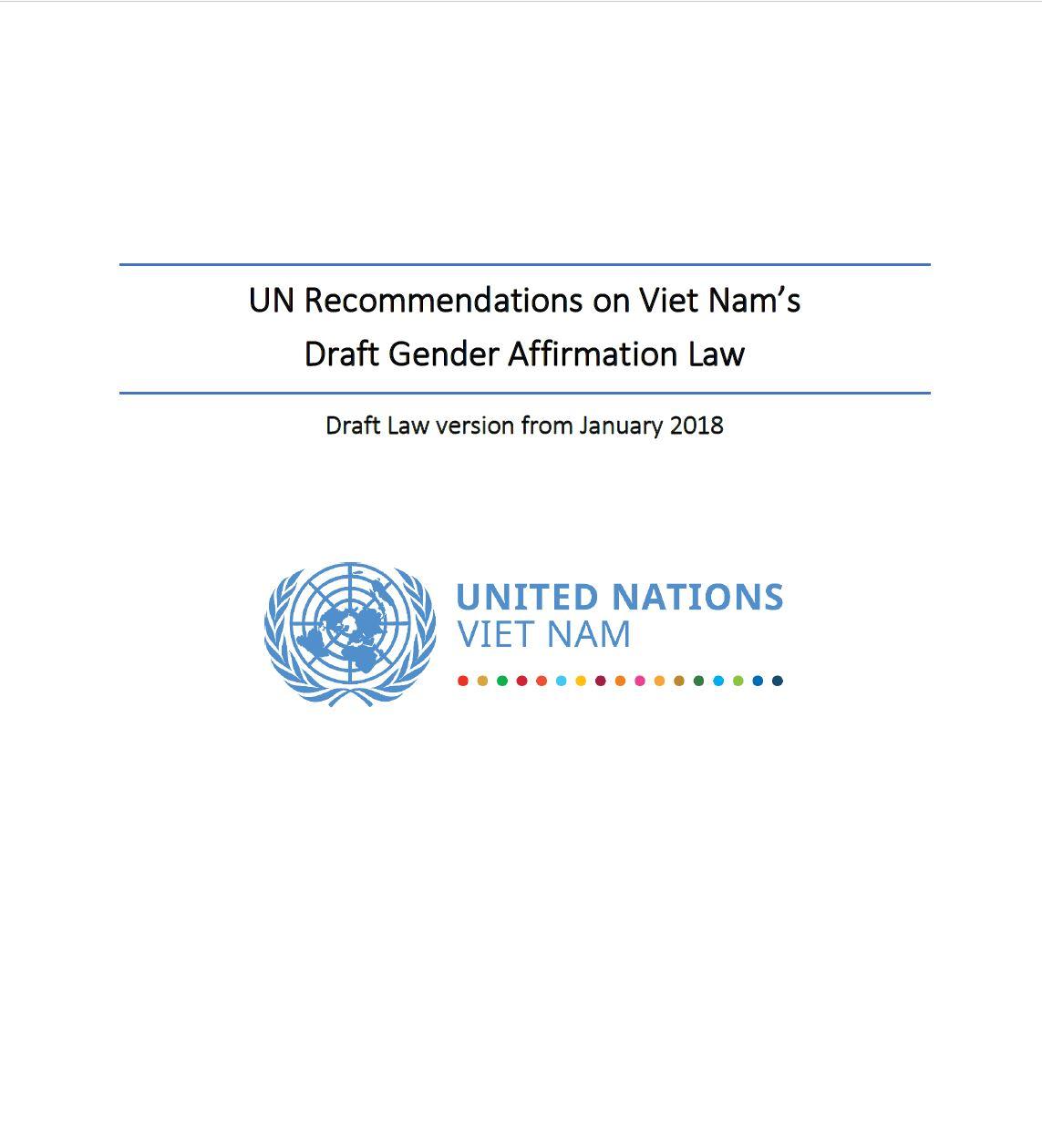 Khuyến nghị của Liên Hợp Quốc về dự thảo luật Chuyển đổi giới tính tại Việt Nam