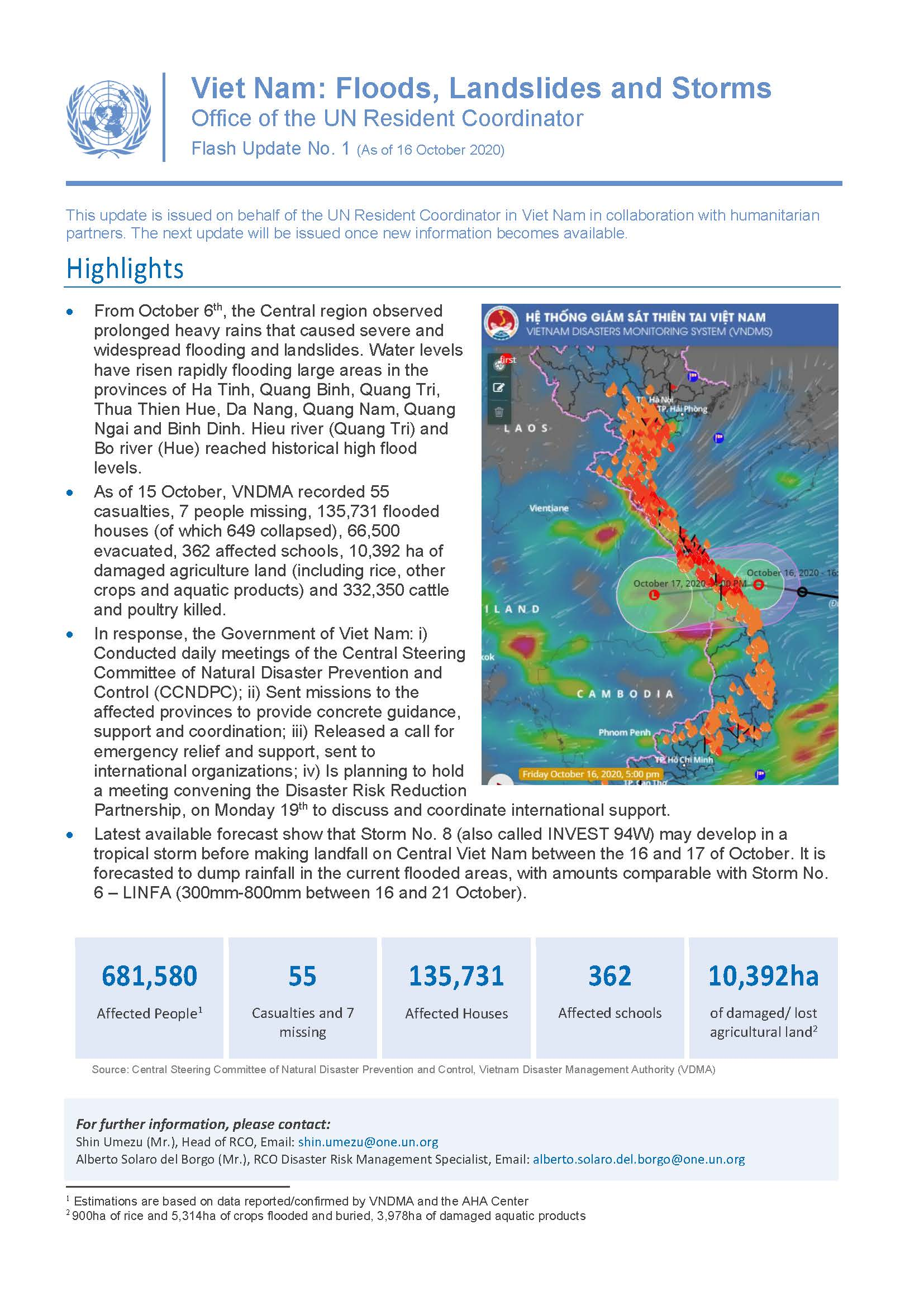 Viet Nam: Floods Landslides and Storms Flash Update No. 1 As of 1 6 October 20 20