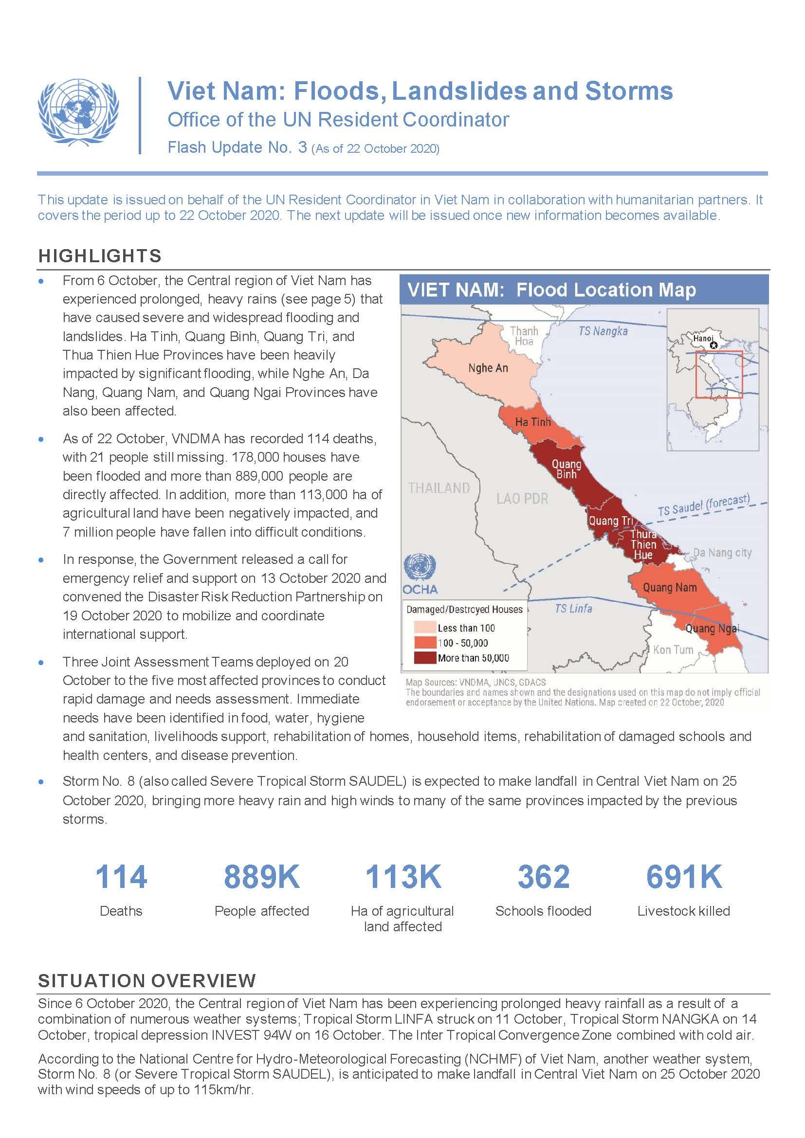 Viet Nam: Floods, Landslides and Storms Flash Update No. 3 (As of 2 2 October 2020)