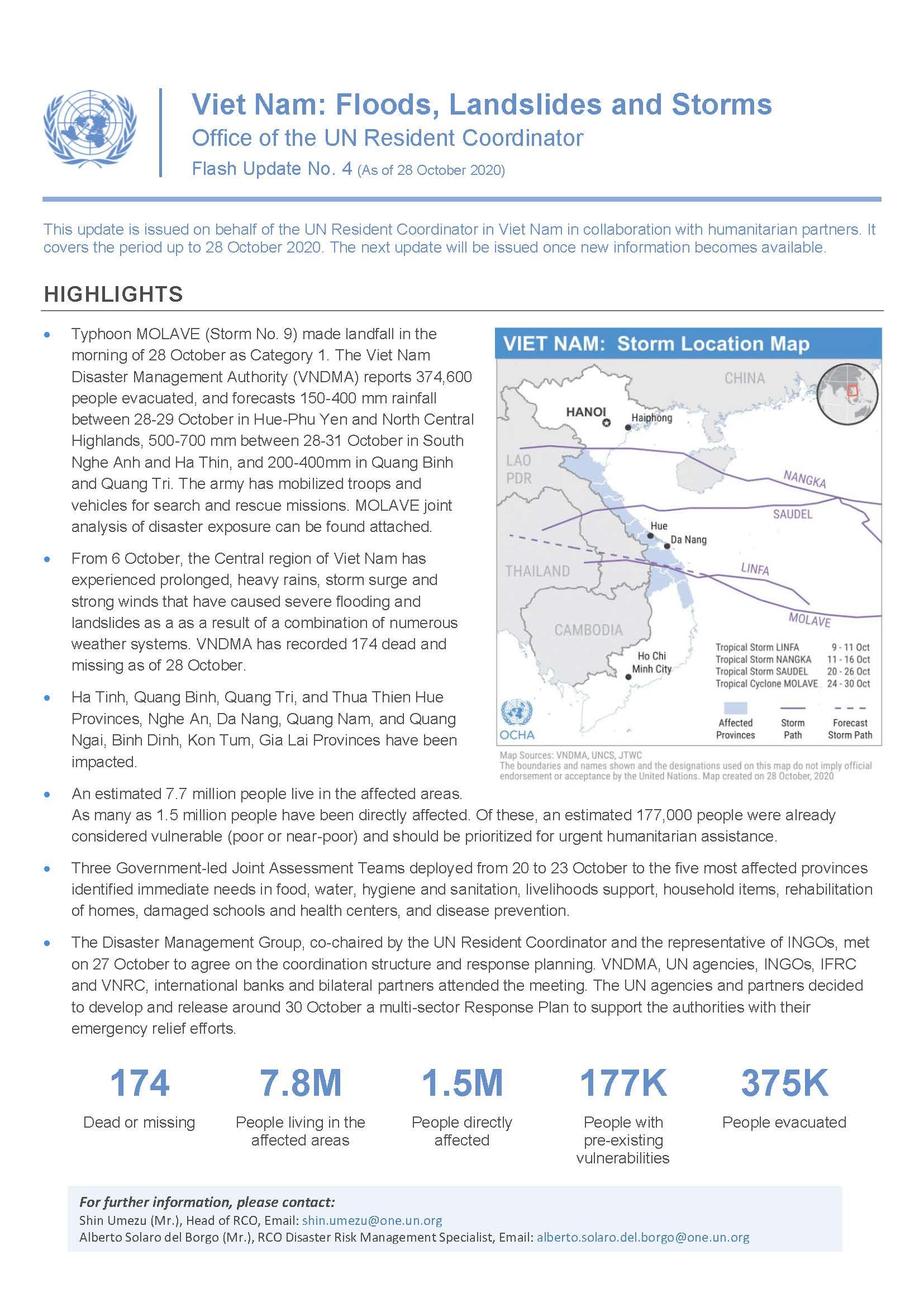Viet Nam: Floods, Landslides and Storms Flash Update No. 4 (As of 28 October 2020)