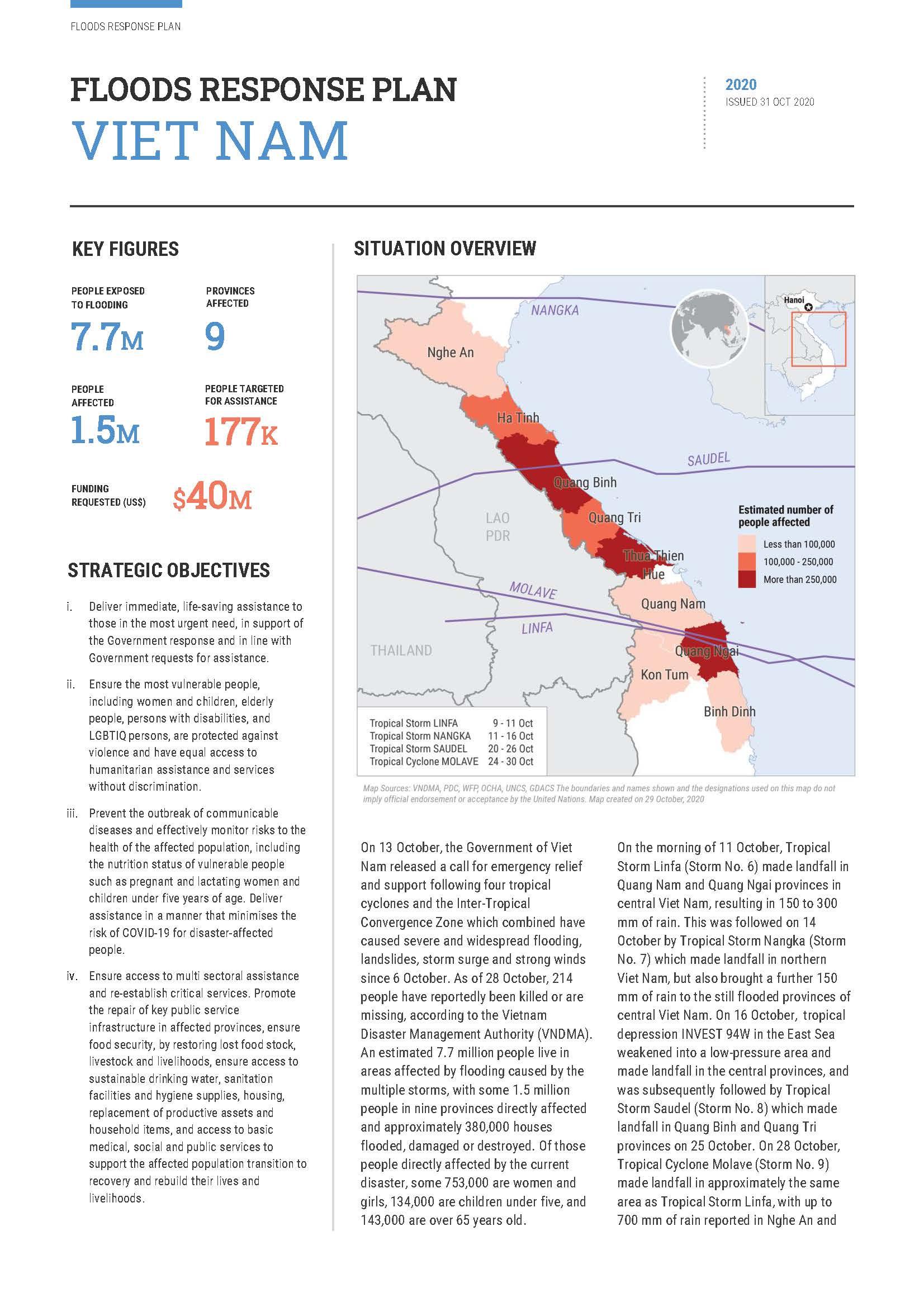 Viet Nam Floods Response Plan